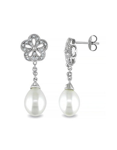 Concerto 9.5-10mm White Rice Freshwater Pearl and Earrings with 0.04 TCW Diamonds-WHITE-One Size