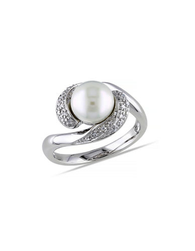 Concerto 8-8.5mm White Round Pearl and Sterling Silver Twisted Ring with 0.1 TCW Diamonds-WHITE-9