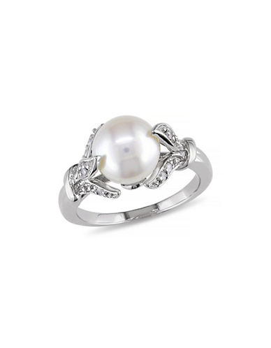 Concerto 8-8.5mm White Round Pearl and Sterling Silver Leaf Ring with 0.1 TCW Diamonds-WHITE-8