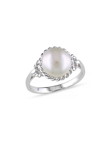 Concerto 9-9.5mm White Round Pearl and Sterling Silver Rope Ring-WHITE-7