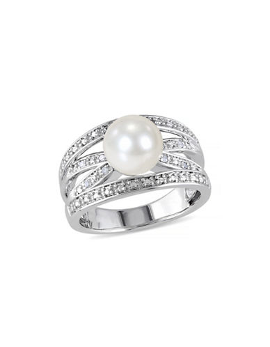 Concerto 9-9.5mm White Round Pearl and Sterling Silver Multiple-Band Ring with 0.04 TCW Diamonds-WHITE-7