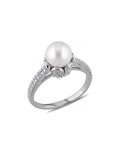 Concerto 8-8.5mm White Round Freshwater Pearl  and Sterling Silver Ring with 0.05 TCW Diamonds-WHITE-7