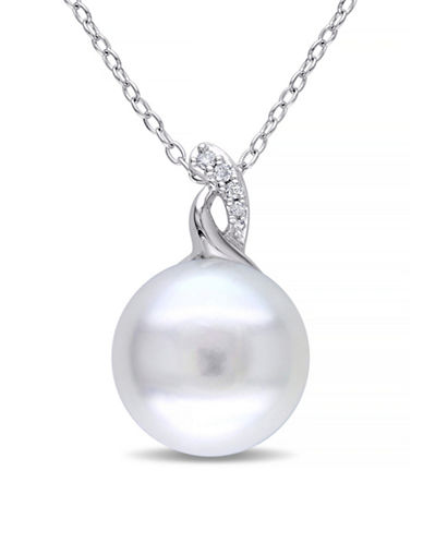 Concerto 12-12.5mm White Button Pearl and Sterling Silver Twist Necklace with 0.03 TCW Diamonds-WHITE-One Size