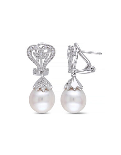 Concerto 10-10.5mm White Rice Freshwater Pearl and Sterling Silver Drop Earrings with  0.06 tcw Diamonds-WHITE-One Size