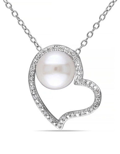 Concerto 8-8.5mm White Button Pearl and Sterling Silver Heart Necklace with 0.1 TCW Diamonds-WHITE-One Size