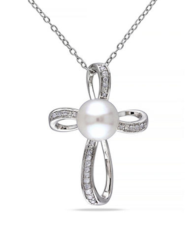 Concerto 8-8.5mm White Button Freshwater Pearl and Sterling Silver Cross Pendant Necklace with 0.1 TCW Diamonds-WHITE-One Size