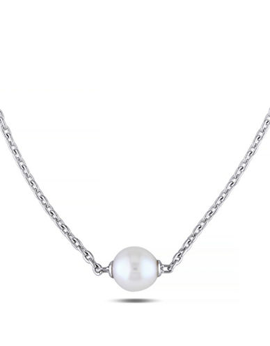 Concerto 9-9.5mm White Round Pearl and Sterling Silver Necklace-WHITE-One Size