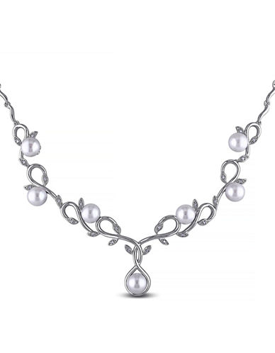 Concerto 6.5-7mm White Pearl and Sterling Silver Floral Necklace with 0.1 TCW Diamonds-WHITE-One Size