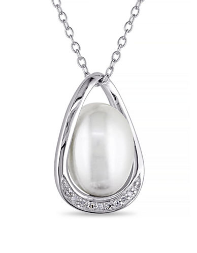 Concerto 9.5-10mm White Rice Pearl and Sterling Silver Pendant Necklace with 0.04 TCW Diamonds-WHITE-One Size