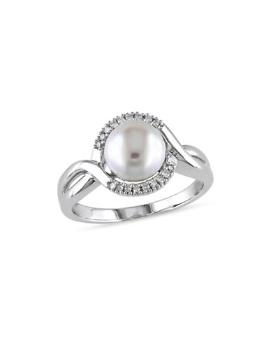 Concerto 7.5-8mm White Button Pearl and Sterling Silver Ring with 0.06 TCW Diamonds-WHITE-5