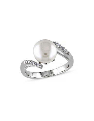 Concerto 9-9.5mm White Button Pearl  and Sterling Silver Ring with 0.06 TCW Diamonds-WHITE-7