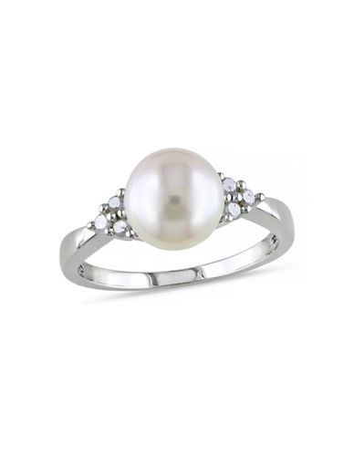 Concerto 8mm-8.5mm White Round Freshwater Pearl and Sterling Silver Ring with 0.12 TCW Diamonds-WHITE-9