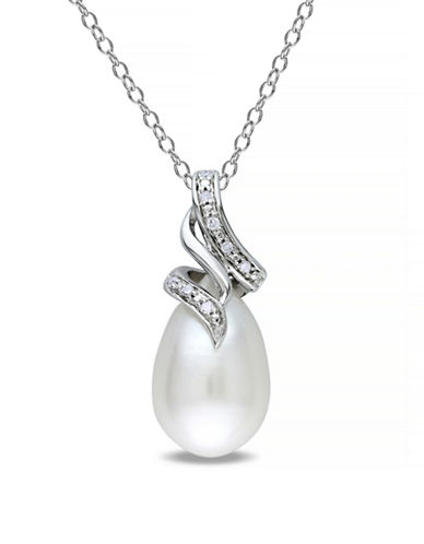 Concerto 9-9.5mm White Rice Freshwater Pearl and Sterling Silver Swirl Necklace with 0.04 TCW Diamonds-WHITE-One Size