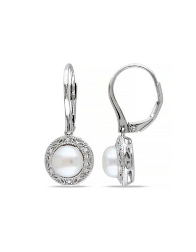 Concerto 7.5-8mm White Button Freshwater Pearl and Sterling Silver Halo Earrings with 0.05 TCW Diamonds-WHITE-One Size