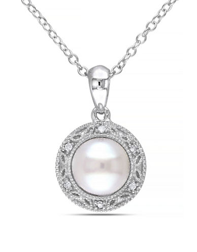 Concerto 7.5-8mm White Button Freshwater Pearl and Sterling Silver Halo Necklace with 0.03 TCW Diamonds-WHITE-One Size