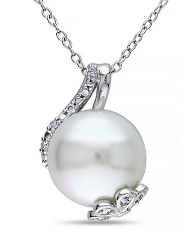 Concerto 12-12.5mm White Button Freshwater Pearl and Sterling Silver Petal Necklace with 0.10 TCW Diamonds-WHITE-One Size
