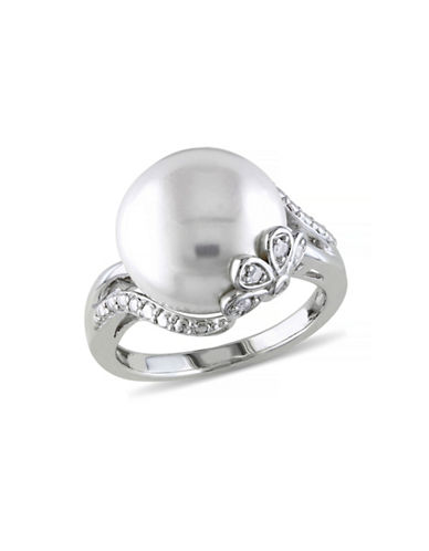 Concerto 12-12.5mm White Button Freshwater Pearl and Sterling Silver Petal Ring with 0.05 TCW Diamonds-WHITE-7