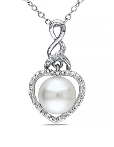 Concerto 8-5mm White Button Freshwater Pearl and Sterling Silver  Heart Necklace 0.07 TCW Diamonds-WHITE-One Size