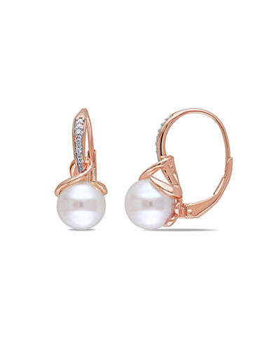 Concerto 8-8.5mm White Round Freshwater Pearl and Pink-Plated Sterling Silver Earrings with 0.06 TCW Diamonds-WHITE-One Size
