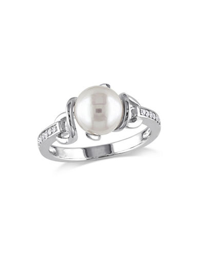Concerto 8-8.5mm White Round Freshwater Pearl and Sterling Silver Ring with 0.06 TCW Diamonds-WHITE-8