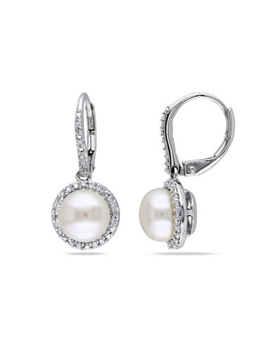 Concerto 8-8.5mm White Round Freshwater Pearl and Sterling Silver Halo Drop Earrings with 0.20 TCW Diamonds-WHITE-One Size