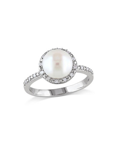 Concerto 8-8.5mm White Button Freshwater Pearl and Sterling Silver Halo Ring with 0.10 TCW Diamonds-WHITE-9