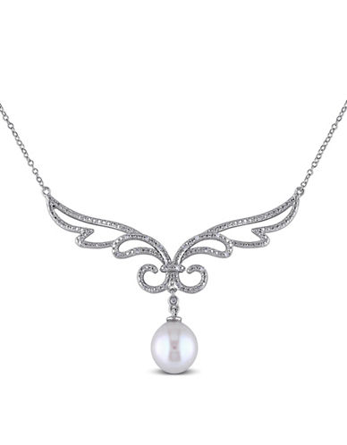Concerto 10-10.5mm White Rice Freshwater Pearl and Sterling Silver Scroll Necklace with 0.10 TCW Diamonds-WHITE-One Size