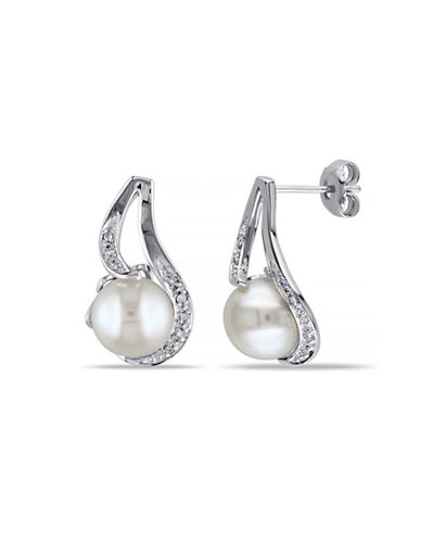Concerto 9-9.5mm White Button Freshwater Pearl Sterling Silver Stud Drop Earrings with  0.06 TCW Diamonds-WHITE-One Size