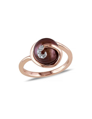 Concerto 9-9.5mm Round Brown Freshwater Pearl and Rose-goldtone Sterling Silver Ring with 0.02 tcw Diamonds-BROWN-6