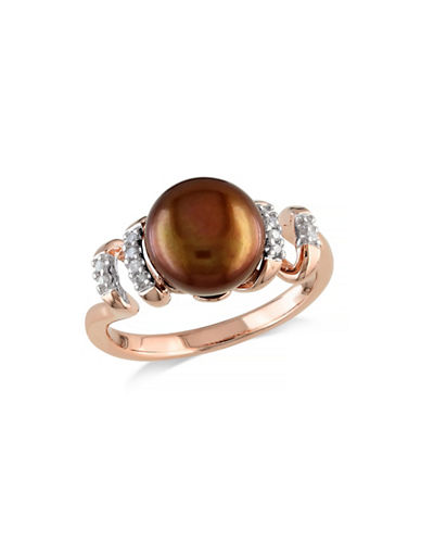 Concerto 9-9.5mm Brown Button Freshwater Pearl and  Pink-Plated Sterling Silver Swirl Ring with 0.05 TCW Diamonds-BROWN-9
