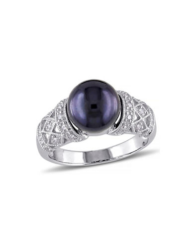 Concerto 9-9.5mm Black Round Freshwater Pearl Sterling Silver Ring with 0.10 TCW Diamonds-BLACK-7