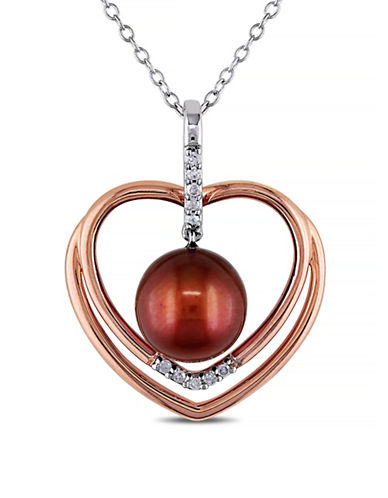 Concerto 5.5-6mm Brown Round Pearl Two-Tone Sterling Silver Heart Necklace with 0.05 TCW Diamonds-BROWN-One Size