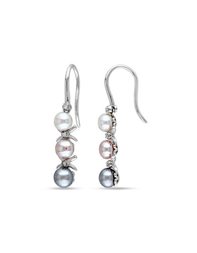 Concerto 5-5.5mm Multi-Colour Pearls Sterling Silver Dangle Earrings 0.03 TCW Diamonds-MULTI-One Size