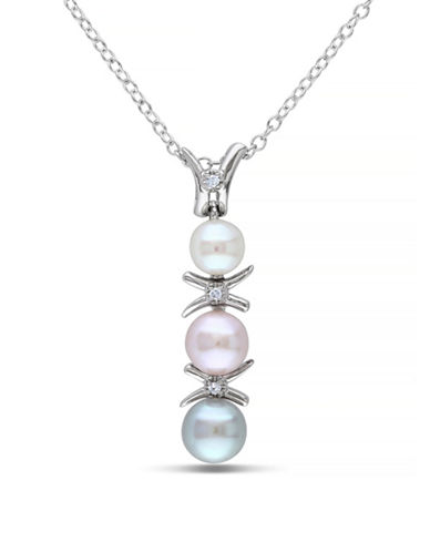 Concerto 5.5-6mm Multi-Colour Pearls and Sterling Silver Necklace with 0.015 TCW Diamonds-MULTI-One Size