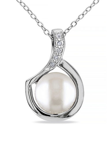 Concerto 9-9.5mm White Button Freshwater Pearl Sterling Silver Necklace and 0.025 TCW Diamonds-WHITE-One Size