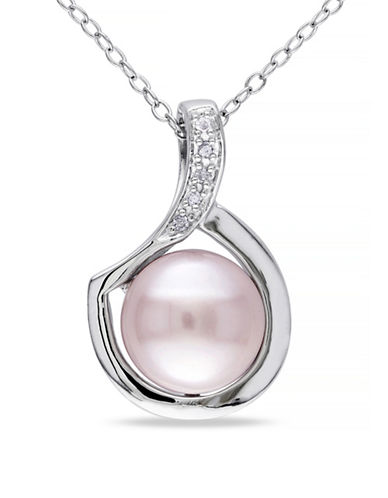 Concerto Pink Button Freshwater Pearl and Sterling Silver Pendant Necklace 0.025 TCW Diamonds-PINK-One Size