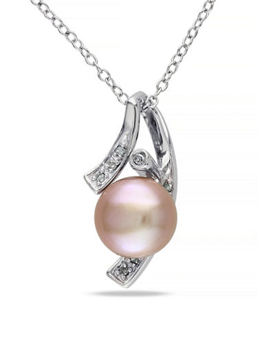 Concerto Pink Button Freshwater Pearl and Sterling Abstract Necklace with 0.04 TCW Diamonds-PINK-One Size