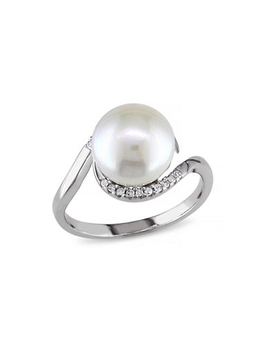 Concerto 9.5-10mm White Button Freshwater Pearl Sterling Silver Ring with 0.10 TCW Diamonds-WHITE-6
