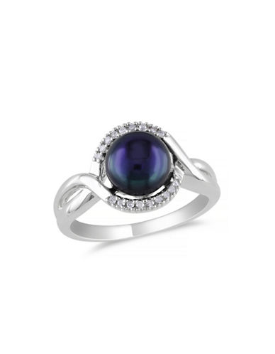 Concerto 7.5-8mm Black Button Freshwater Pearl Sterling Silver Ring with 0.06 TCW Diamond Ring-BLACK-5