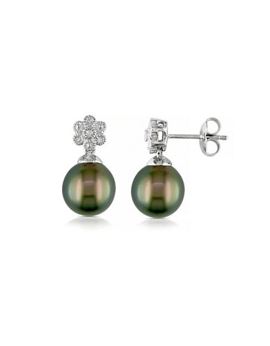 Concerto 9.5-10mm Black Tahitian Pearl with 0.04 CTW Diamond Accent Sterling Silver Earrings-PEARL-One Size