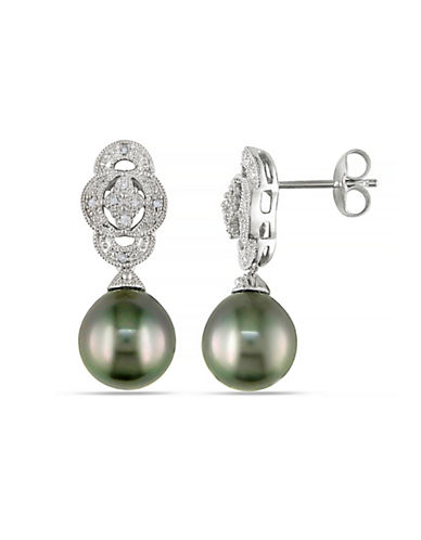 Concerto 9-9.5mm Black Tahitian Pearl with 0.05 CTW Diamond Accent Sterling Silver Earrings-PEARL-One Size
