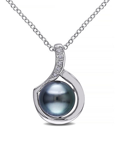 Concerto 9-9.5mm Black Tahitian Pearl with 0.025 TCW Diamond Accents Sterling Silver Necklace-PEARL-One Size