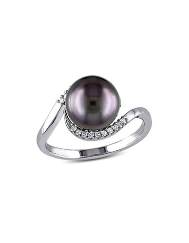 Concerto 9-9.5mm Black Tahitian Pearl with 0.09 TCW Diamond Accent Sterling Silver Ring-PEARL-8
