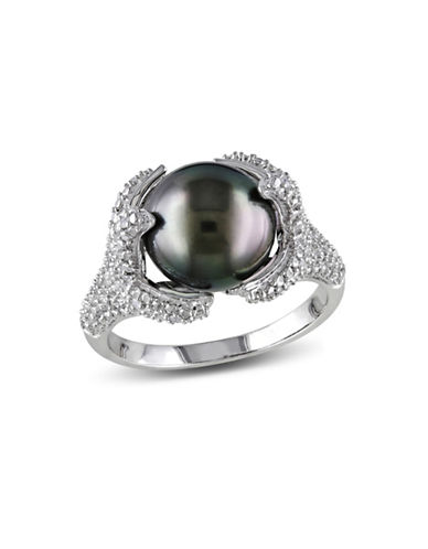 Concerto 10-10.5mm Black Tahitian Pearl with 0.1 TCW Diamond Accent Sterling Silver Ring-PEARL-5