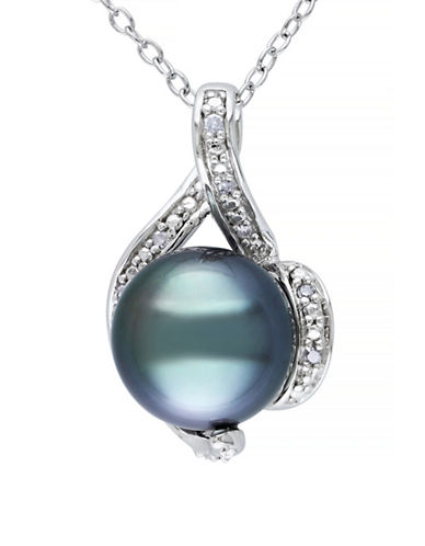 Concerto 9-9.5mm Black Round Tahitian Pearl and Sterling Silver Swirl Necklace with 0.05TCW Diamonds-PEARL-One Size