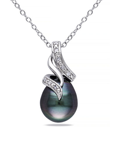 Concerto 9-9.5mm Black Drop Pearl Tahitian Pearl Cursive Necklace with 0.04TCW Diamonds-PEARL-One Size
