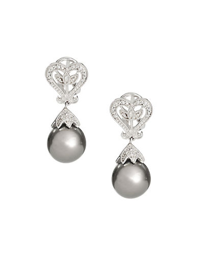 Concerto 10-10.5mm Black Drop Tahitian Pearl Heart Earrings with 0.06TCW Diamonds 87954391
