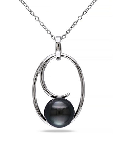 Concerto 9.5-10mm Black Round Tahitian Pearl and Sterling Silver C Necklace-WHITE-One Size