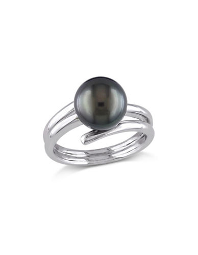 Concerto 9.5-10mm Black Round Tahitian Pearl Sterling Silver Ring-PEARL-7