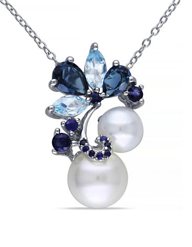 Concerto 9-9.5mm White Round Freshwater Pearl Blue Topaz and Sapphire Sterling Silver Necklace-BLUE-One Size